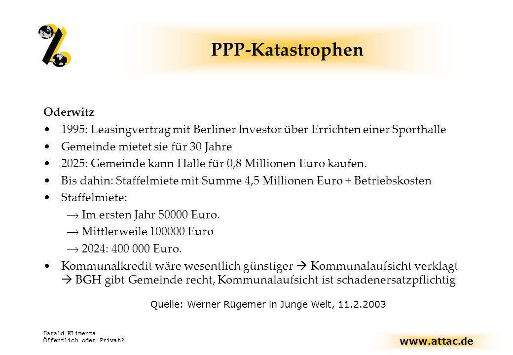 www.attac.de Harald Klimenta Öffentlich oder Privat? PPP-Katastrophen Oderwitz 1995: Leasingvertrag mit Berliner Investor über Errichten einer Sportha