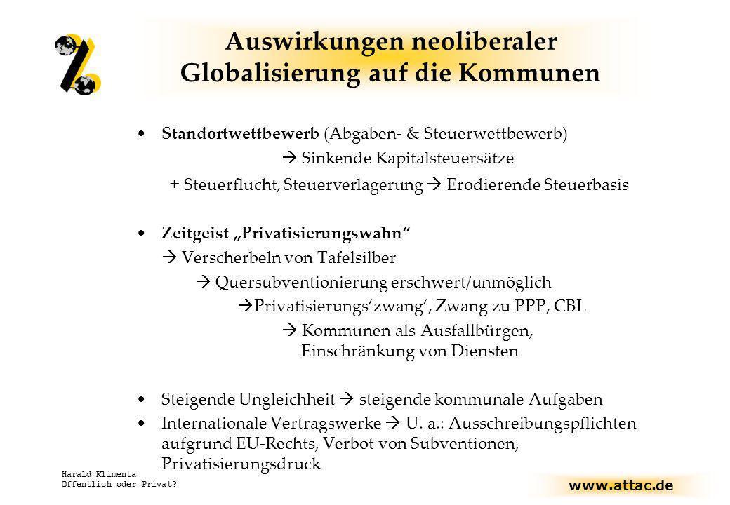 www.attac.de Harald Klimenta Öffentlich oder Privat? Auswirkungen neoliberaler Globalisierung auf die Kommunen Standortwettbewerb (Abgaben- & Steuerwe