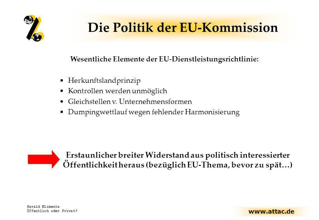 www.attac.de Harald Klimenta Öffentlich oder Privat? Die Politik der EU-Kommission Wesentliche Elemente der EU-Dienstleistungsrichtlinie: Herkunftslan