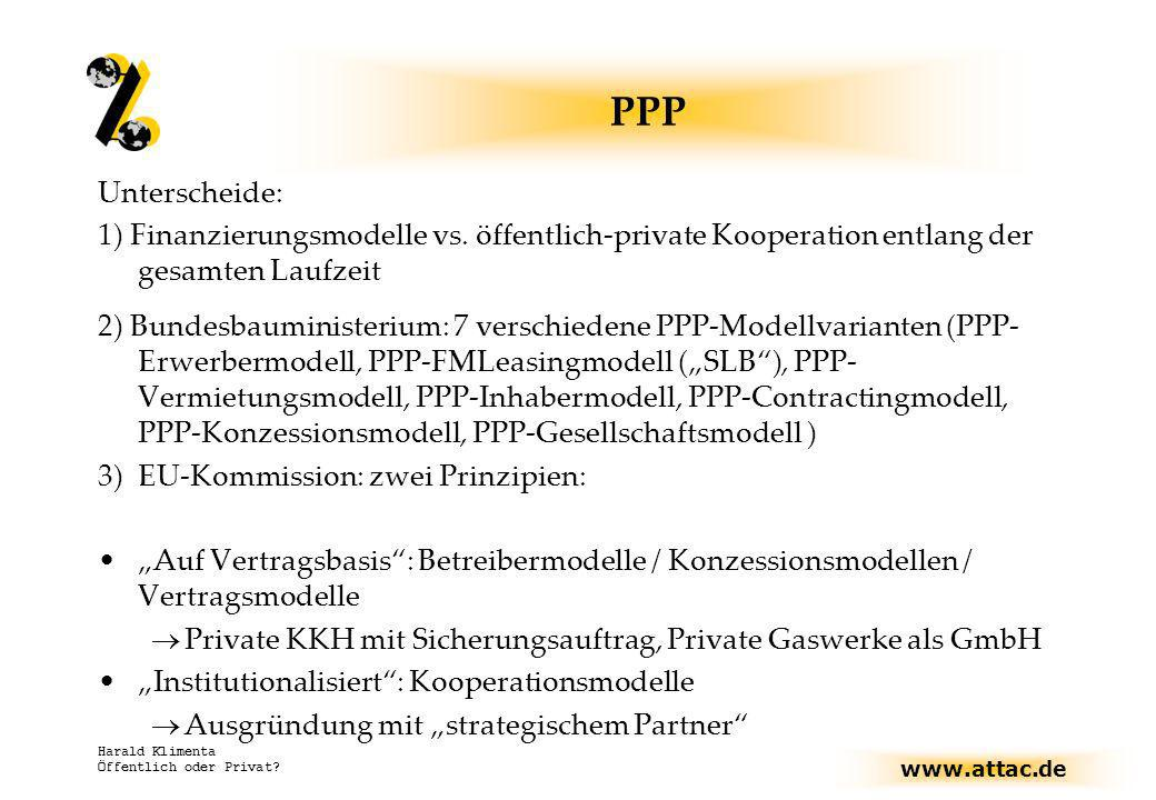 www.attac.de Harald Klimenta Öffentlich oder Privat? PPP Unterscheide: 1) Finanzierungsmodelle vs. öffentlich-private Kooperation entlang der gesamten