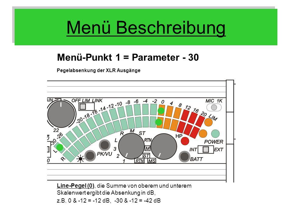 Menü Beschreibung Menü-Punkt 1 = Parameter - 30 Line-Pegel (0), die Summe von oberem und unterem Skalenwert ergibt die Absenkung in dB, z.B. 0 & -12 =