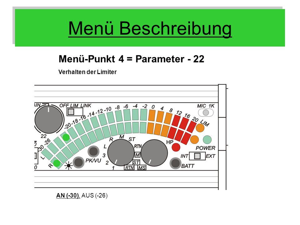 Menü Beschreibung Menü-Punkt 4 = Parameter - 22 AN (-30), AUS (-26) Verhalten der Limiter