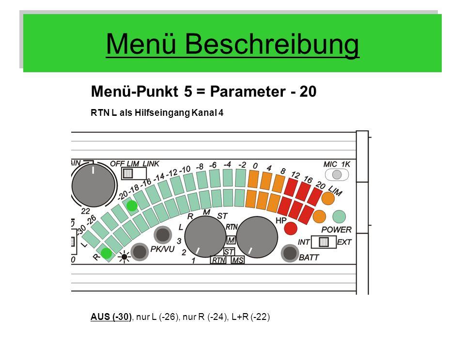 Menü Beschreibung Menü-Punkt 5 = Parameter - 20 RTN L als Hilfseingang Kanal 4 AUS (-30), nur L (-26), nur R (-24), L+R (-22)