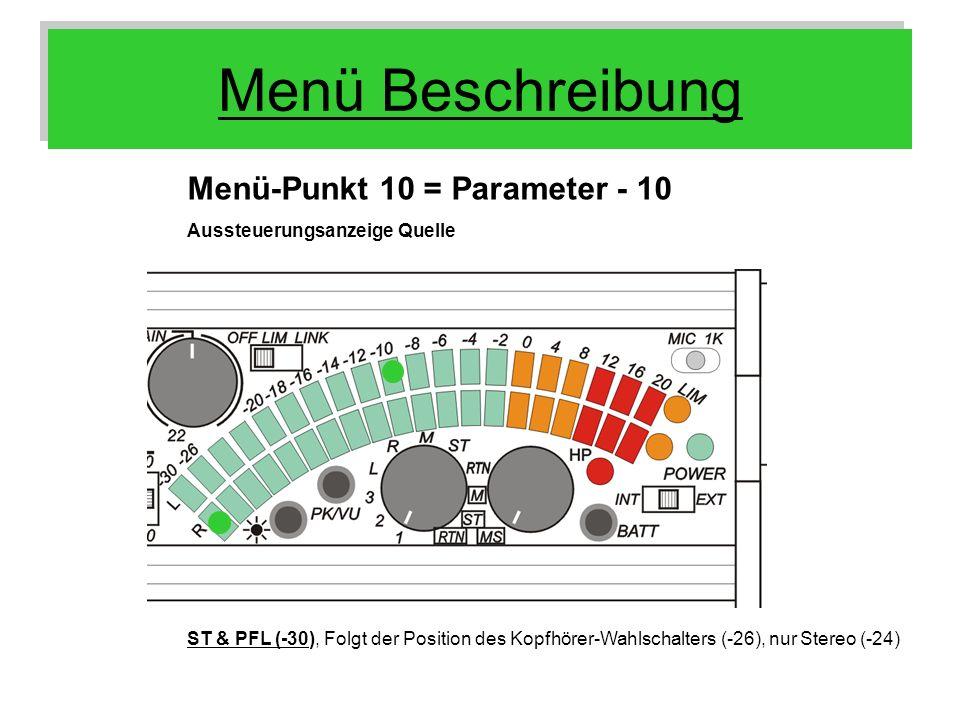 Menü Beschreibung Menü-Punkt 10 = Parameter - 10 Aussteuerungsanzeige Quelle ST & PFL (-30), Folgt der Position des Kopfhörer-Wahlschalters (-26), nur