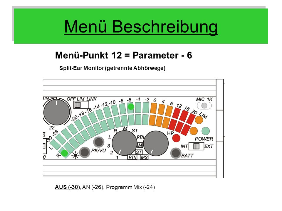 Menü Beschreibung Menü-Punkt 12 = Parameter - 6 Split-Ear Monitor (getrennte Abhörwege) AUS (-30), AN (-26), Programm Mix (-24)