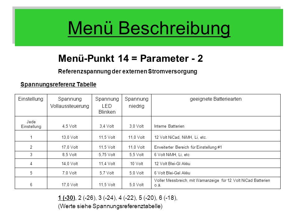 Menü Beschreibung Menü-Punkt 14 = Parameter - 2 Referenzspannung der externen Stromversorgung 1 (-30), 2 (-26), 3 (-24), 4 (-22), 5 (-20), 6 (-18), (W