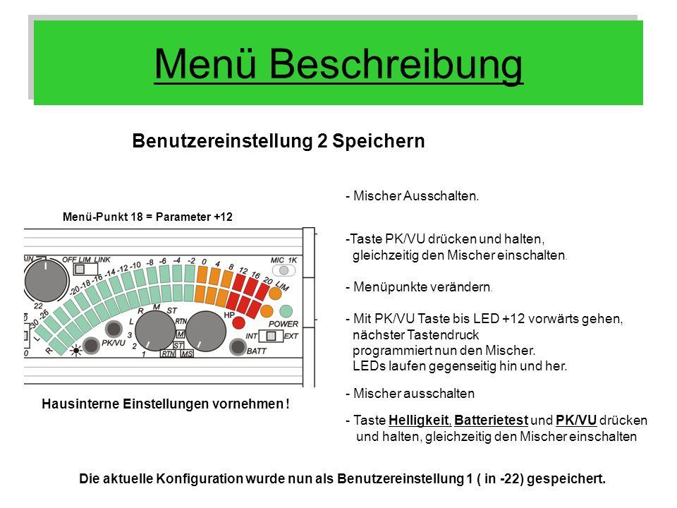 Menü Beschreibung Benutzereinstellung 2 Speichern Menü-Punkt 18 = Parameter +12 Hausinterne Einstellungen vornehmen ! - Menüpunkte verändern. - Mit PK