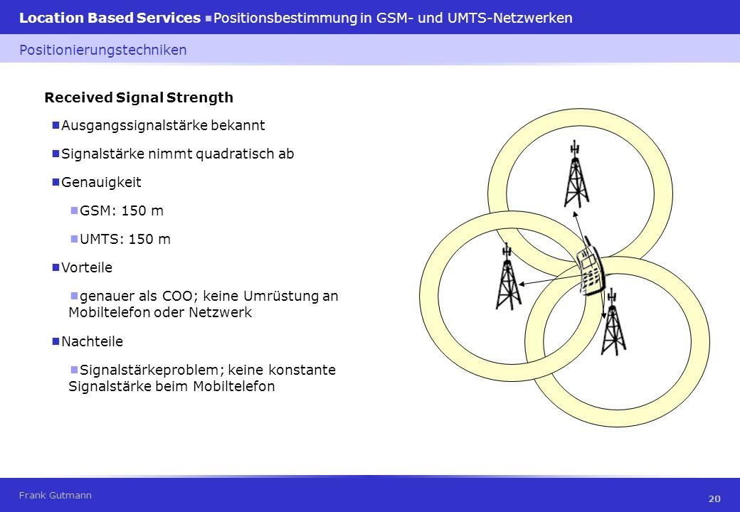 Frank Gutmann Location Based Services Positionsbestimmung in GSM- und UMTS-Netzwerken 20 Received Signal Strength Ausgangssignalstärke bekannt Positio