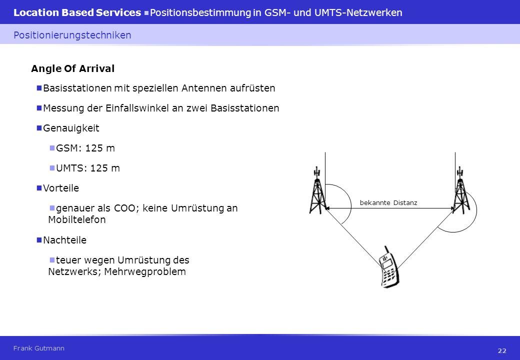 Frank Gutmann Location Based Services Positionsbestimmung in GSM- und UMTS-Netzwerken 22 Angle Of Arrival Basisstationen mit speziellen Antennen aufrü
