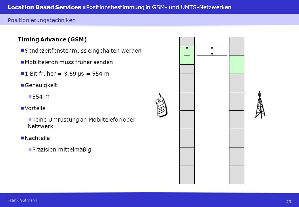 Frank Gutmann Location Based Services Positionsbestimmung in GSM- und UMTS-Netzwerken 23 Timing Advance (GSM) Sendezeitfenster muss eingehalten werden