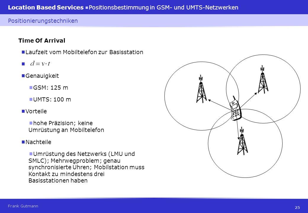 Frank Gutmann Location Based Services Positionsbestimmung in GSM- und UMTS-Netzwerken 25 Time Of Arrival Laufzeit vom Mobiltelefon zur Basisstation Po