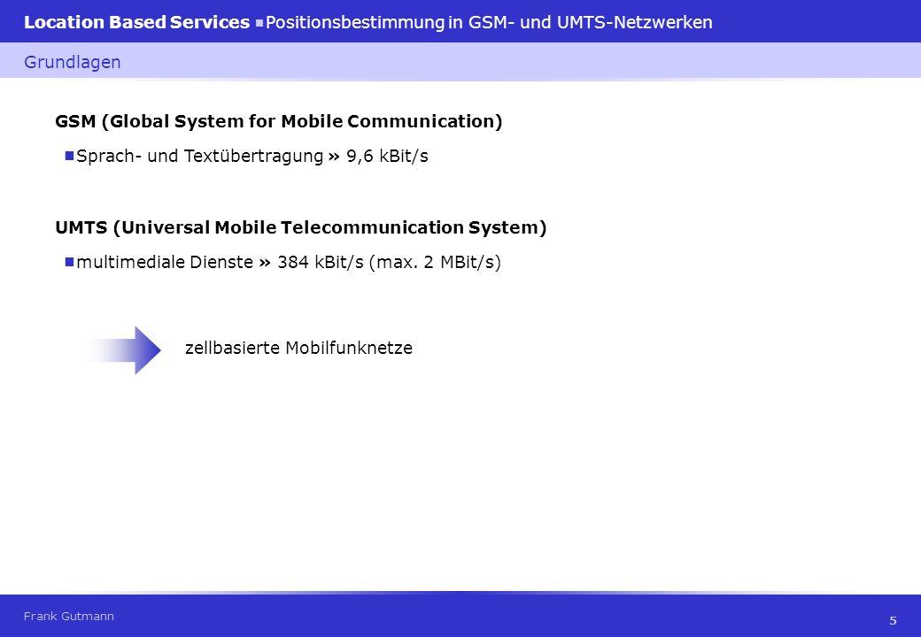 Frank Gutmann Location Based Services Positionsbestimmung in GSM- und UMTS-Netzwerken 26 Time Difference Of Arrival Basisstationen messen Laufzeitdifferenzen Positionierungstechniken Genauigkeit GSM: 50 - 150 m UMTS: 5 - 20 m Vorteile hohe Präzision; keine Umrüstung an Mobiltelefon; nur Basisstationen müssen synchron sein Umrüstung des Netzwerks (LMU und SMLC); Mehrwegproblem; Mobilstation muss Kontakt zu mindestens drei Basisstationen haben Nachteile Hyperbel A,C A B C Hyperbel A,B