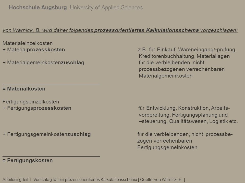 Abbildung Teil 1: Vorschlag für ein prozessorientiertes Kalkulationsschema [ Quelle: von Warnick, B. ] von Warnick, B. wird daher folgendes prozessori