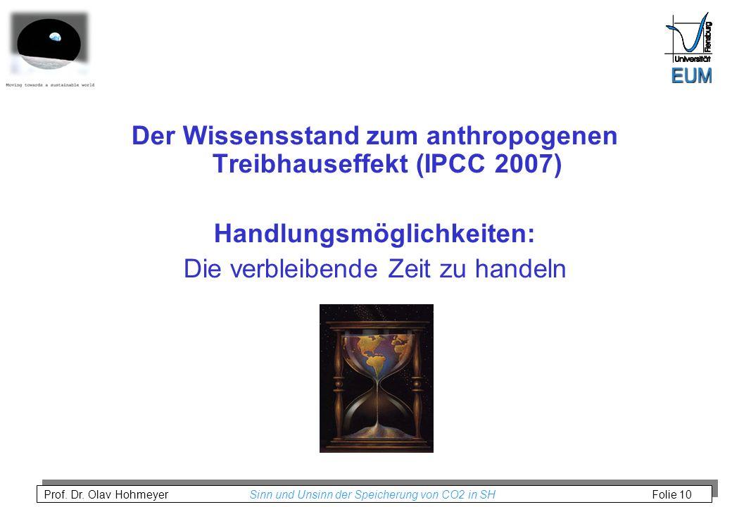 Prof. Dr. Olav Hohmeyer Sinn und Unsinn der Speicherung von CO2 in SH Folie 10 Der Wissensstand zum anthropogenen Treibhauseffekt (IPCC 2007) Handlung