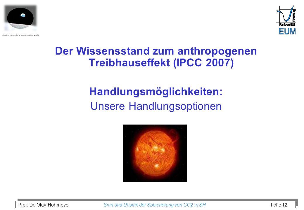 Prof. Dr. Olav Hohmeyer Sinn und Unsinn der Speicherung von CO2 in SH Folie 12 Der Wissensstand zum anthropogenen Treibhauseffekt (IPCC 2007) Handlung