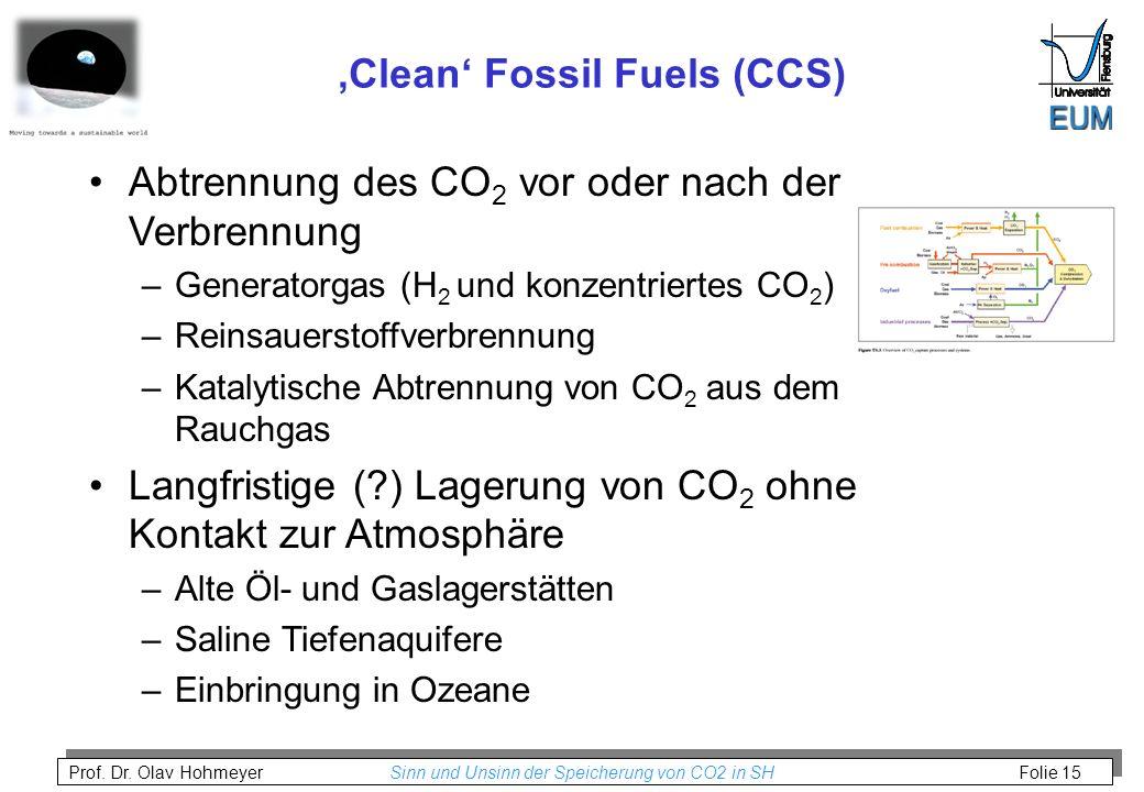 Prof. Dr. Olav Hohmeyer Sinn und Unsinn der Speicherung von CO2 in SH Folie 15 Clean Fossil Fuels (CCS) Abtrennung des CO 2 vor oder nach der Verbrenn