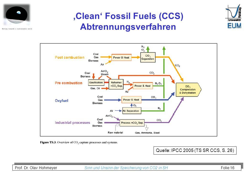 Prof. Dr. Olav Hohmeyer Sinn und Unsinn der Speicherung von CO2 in SH Folie 16 Clean Fossil Fuels (CCS) Abtrennungsverfahren Quelle: IPCC 2005 (TS SR