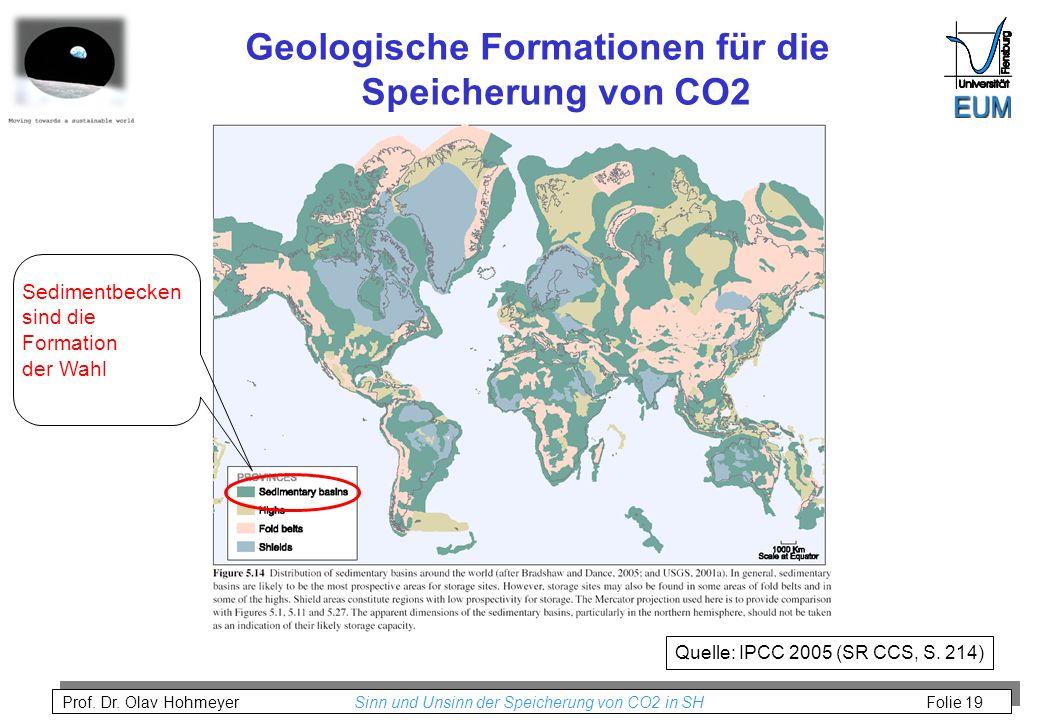 Prof. Dr. Olav Hohmeyer Sinn und Unsinn der Speicherung von CO2 in SH Folie 19 Geologische Formationen für die Speicherung von CO2 Quelle: IPCC 2005 (