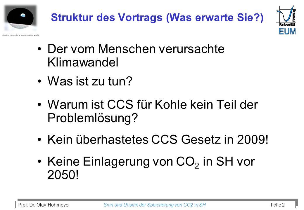 Prof. Dr. Olav Hohmeyer Sinn und Unsinn der Speicherung von CO2 in SH Folie 2 Struktur des Vortrags (Was erwarte Sie?) Der vom Menschen verursachte Kl