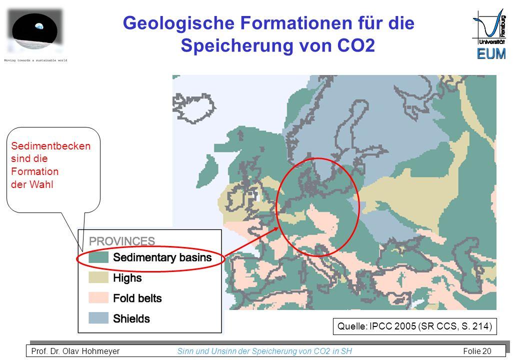 Prof. Dr. Olav Hohmeyer Sinn und Unsinn der Speicherung von CO2 in SH Folie 20 Geologische Formationen für die Speicherung von CO2 Quelle: IPCC 2005 (