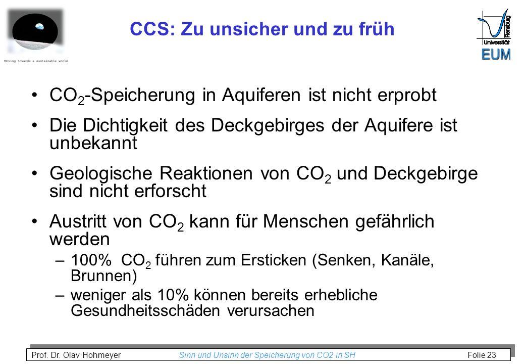 Prof. Dr. Olav Hohmeyer Sinn und Unsinn der Speicherung von CO2 in SH Folie 23 CCS: Zu unsicher und zu früh CO 2 -Speicherung in Aquiferen ist nicht e