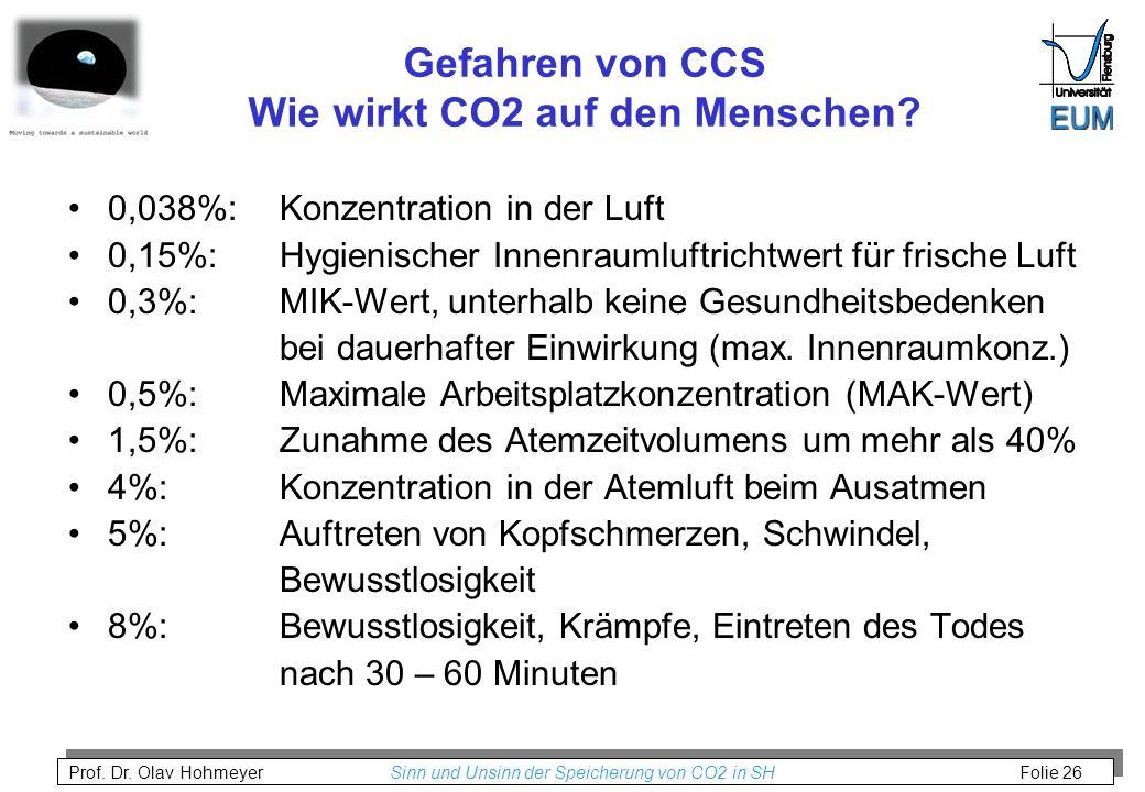 Prof. Dr. Olav Hohmeyer Sinn und Unsinn der Speicherung von CO2 in SH Folie 26 Gefahren von CCS Wie wirkt CO2 auf den Menschen? 0,038%: Konzentration