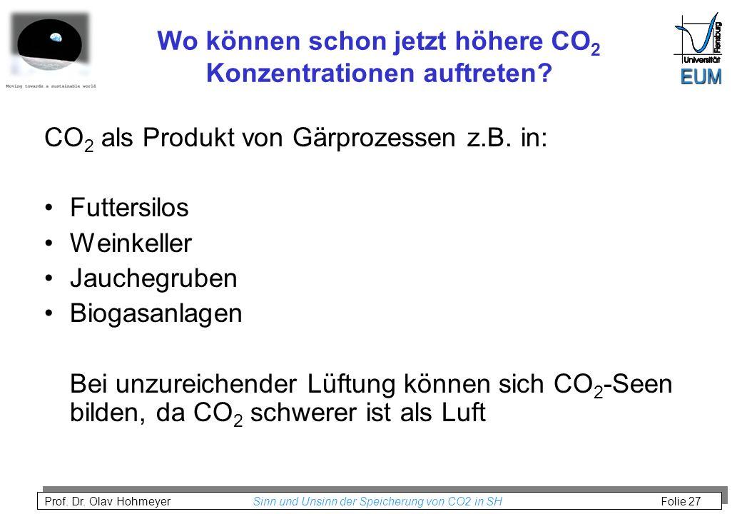 Prof. Dr. Olav Hohmeyer Sinn und Unsinn der Speicherung von CO2 in SH Folie 27 Wo können schon jetzt höhere CO 2 Konzentrationen auftreten? CO 2 als P