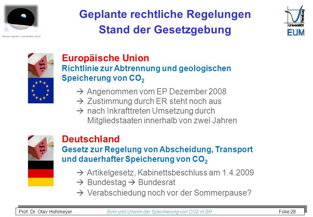 Prof. Dr. Olav Hohmeyer Sinn und Unsinn der Speicherung von CO2 in SH Folie 28 Stand der Gesetzgebung Geplante rechtliche Regelungen Europäische Union