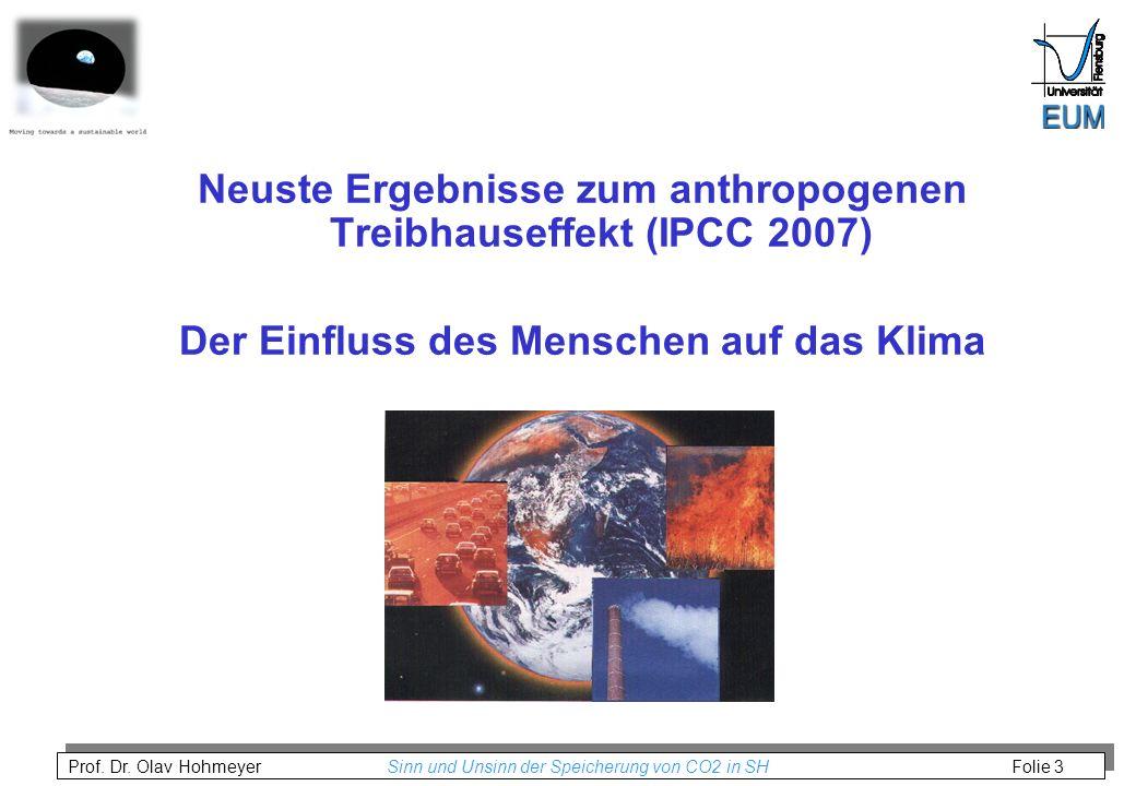 Prof. Dr. Olav Hohmeyer Sinn und Unsinn der Speicherung von CO2 in SH Folie 3 Neuste Ergebnisse zum anthropogenen Treibhauseffekt (IPCC 2007) Der Einf