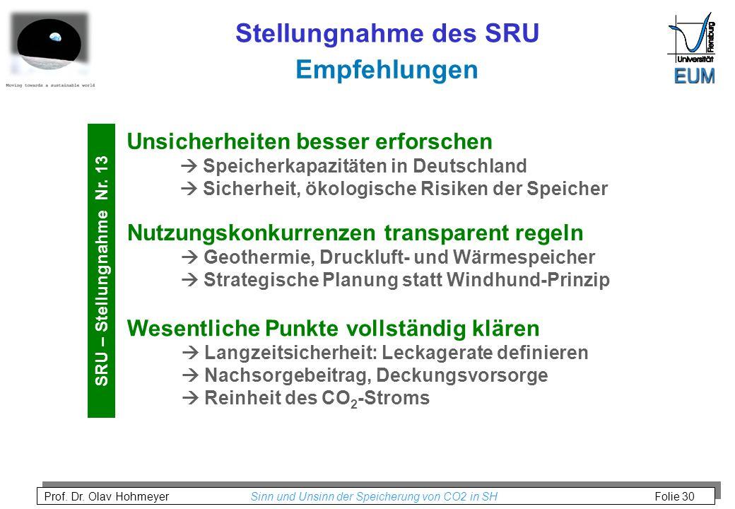 Prof. Dr. Olav Hohmeyer Sinn und Unsinn der Speicherung von CO2 in SH Folie 30 Empfehlungen Stellungnahme des SRU Unsicherheiten besser erforschen Spe