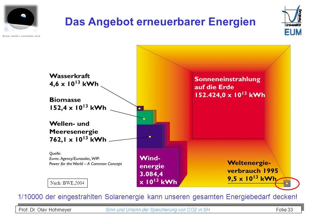Prof. Dr. Olav Hohmeyer Sinn und Unsinn der Speicherung von CO2 in SH Folie 33 Nach: BWE,2004 Das Angebot erneuerbarer Energien 1/10000 der eingestrah