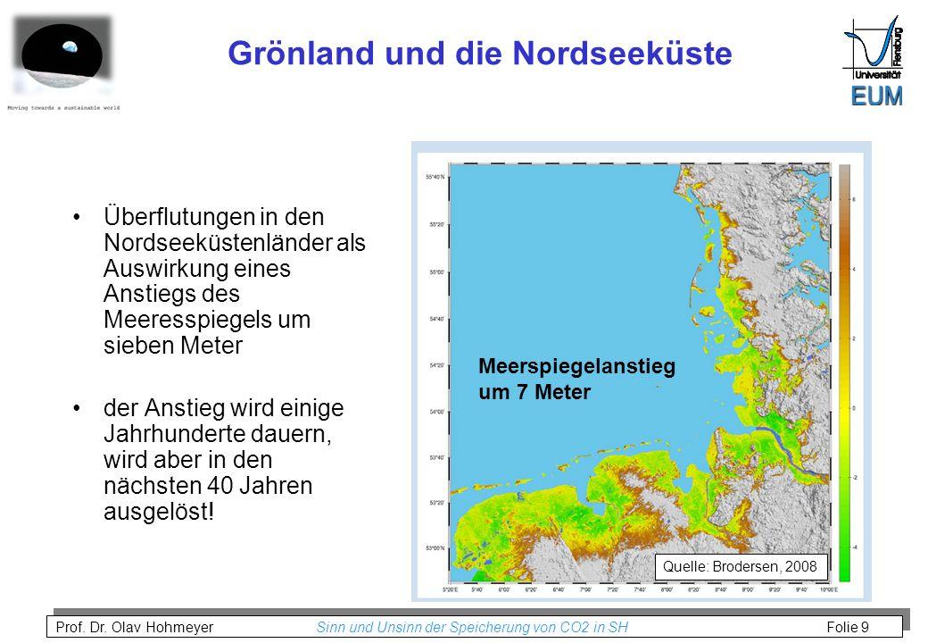 Prof. Dr. Olav Hohmeyer Sinn und Unsinn der Speicherung von CO2 in SH Folie 9 Grönland und die Nordseeküste Überflutungen in den Nordseeküstenländer a