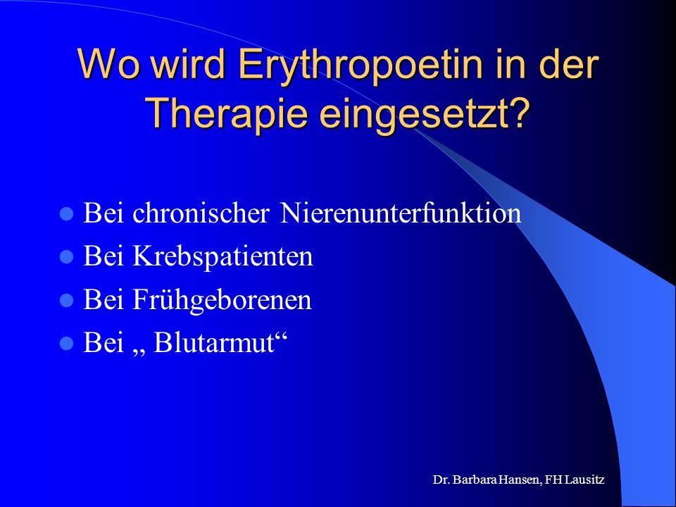 Was ist Erythropoetin und welche Funktion hat es? Körpereigenes Hormon Produktion in der Niere Stimuliert die Bildung roter Blutkörperchen aus Vorläuf