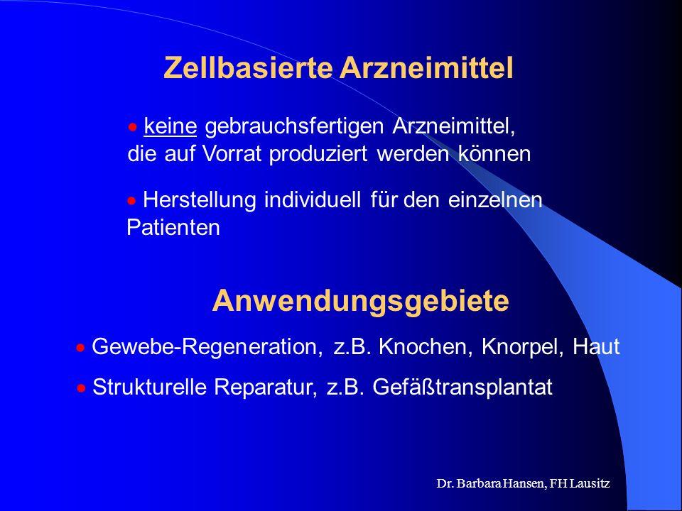 Dr. Barbara Hansen, FH Lausitz Zellbasierte Arzneimittel Therapie durch Einsatz von Zellen? Heute und morgen