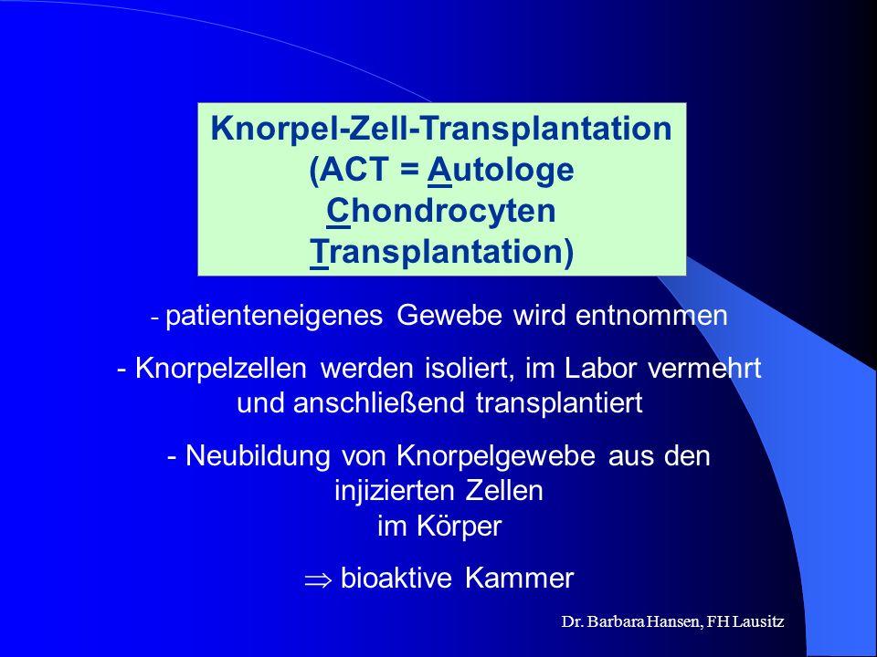 Dr. Barbara Hansen, FH Lausitz Knorpelschäden können nicht von selbst heilen. Knorpel hat keine Fähigkeit zur Regeneration. Knorpelzellen können sich