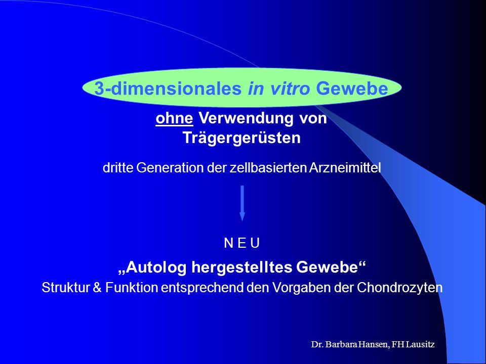 Dr. Barbara Hansen, FH Lausitz Zellen & Träger zweite Generation der zellbasierten Arzneimittel in vitro hergestelltes Zell-Matrix- Konstrukt Eine Zel