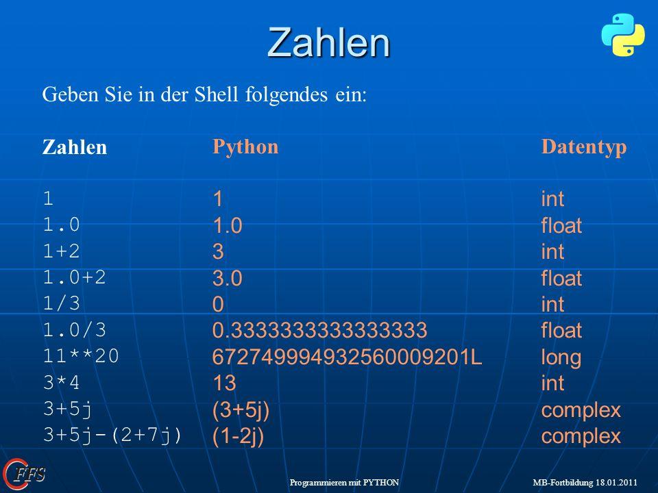 Programmieren mit PYTHON MB-Fortbildung 18.01.2011Zahlen Geben Sie in der Shell folgendes ein: Zahlen 1 1.0 1+2 1.0+2 1/3 1.0/3 11**20 3*4 3+5j 3+5j-(