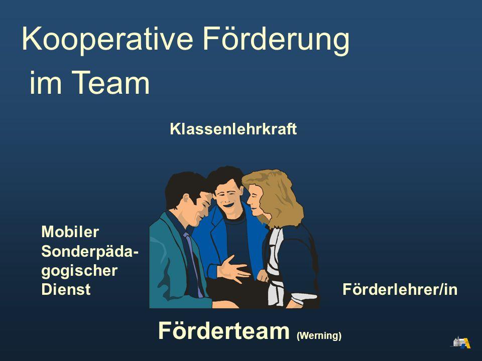 im Team Mobiler Sonderpäda- gogischer Dienst Förderlehrer/in Klassenlehrkraft Kooperative Förderung Förderteam (Werning)