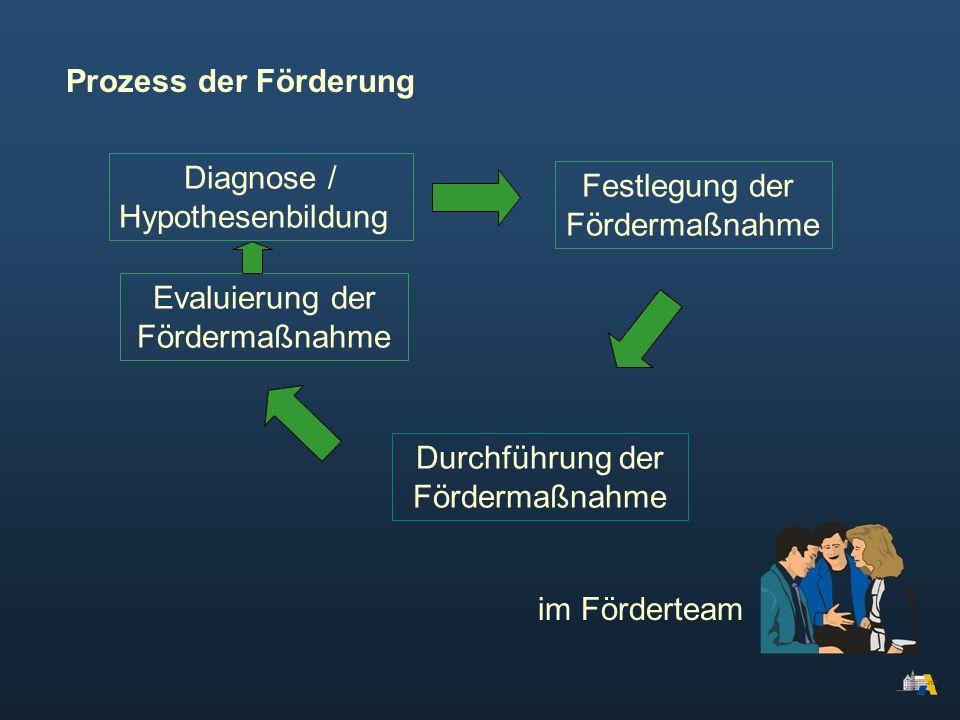 Diagnose / Hypothesenbildung Festlegung der Fördermaßnahme Durchführung der Fördermaßnahme Evaluierung der Fördermaßnahme im Förderteam Prozess der Fö