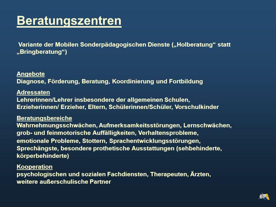 Variante der Mobilen Sonderpädagogischen Dienste (Holberatung statt Bringberatung) Angebote Diagnose, Förderung, Beratung, Koordinierung und Fortbildu