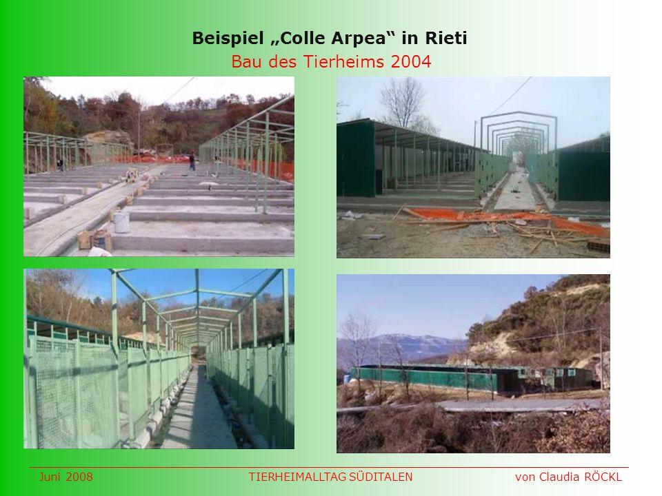 Bau des Tierheims 2004 Beispiel Colle Arpea in Rieti Juni 2008 von Claudia RÖCKLTIERHEIMALLTAG SÜDITALEN