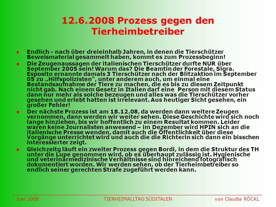 12.6.2008 Prozess gegen den Tierheimbetreiber Endlich - nach über dreieinhalb Jahren, in denen die Tierschützer Beweismaterial gesammelt haben, kommt es zum Prozessbeginn.