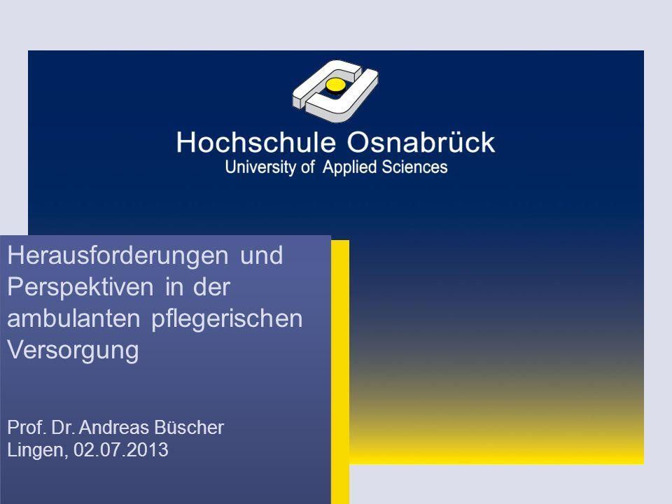 Herausforderungen und Perspektiven in der ambulanten pflegerischen Versorgung Prof. Dr. Andreas Büscher Lingen, 02.07.2013 Herausforderungen und Persp