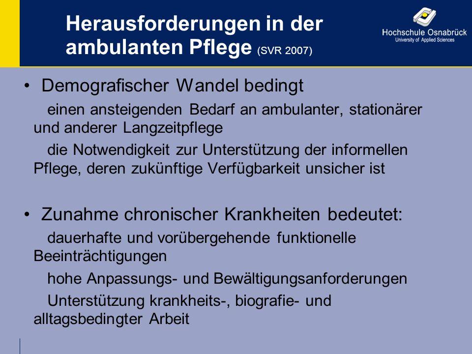 Herausforderungen in der ambulanten Pflege (SVR 2007) Demografischer Wandel bedingt einen ansteigenden Bedarf an ambulanter, stationärer und anderer L