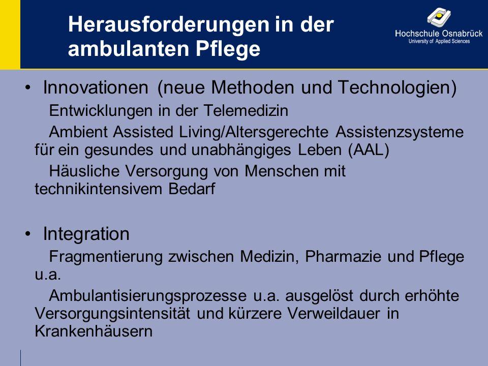 Herausforderungen in der ambulanten Pflege Innovationen (neue Methoden und Technologien) Entwicklungen in der Telemedizin Ambient Assisted Living/Alte
