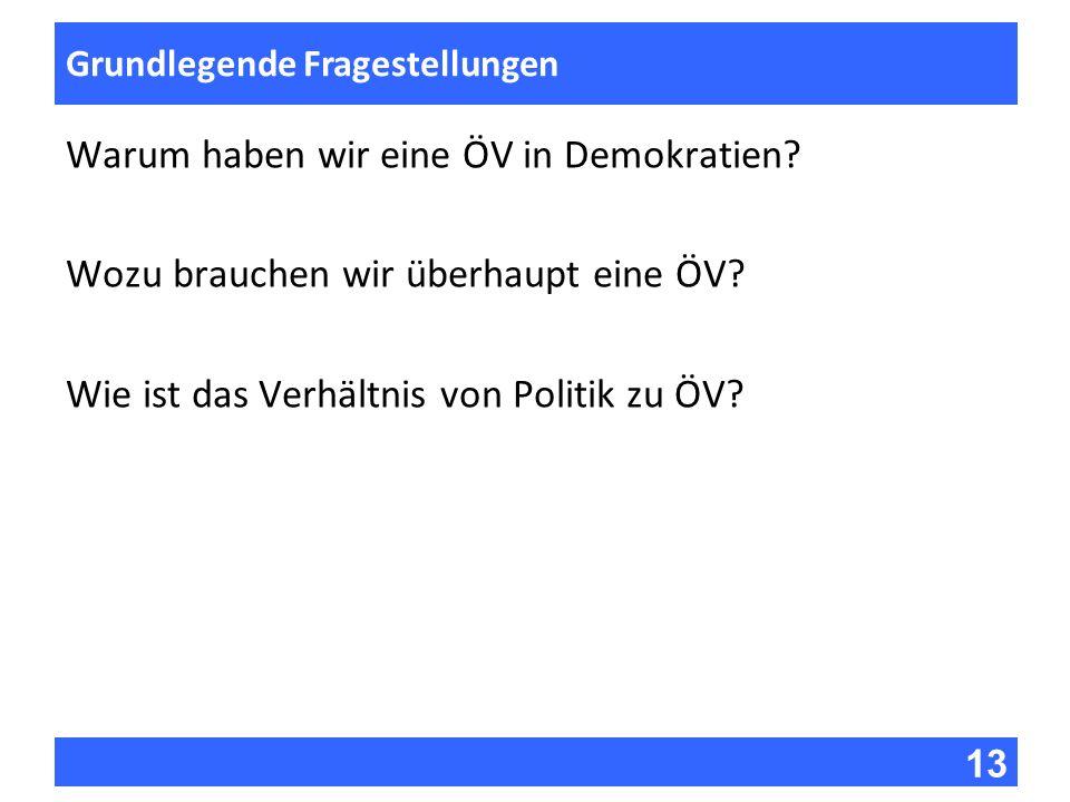 13 Fragen zur Vorlesung Grundlegende Fragestellungen Warum haben wir eine ÖV in Demokratien? Wozu brauchen wir überhaupt eine ÖV? Wie ist das Verhältn