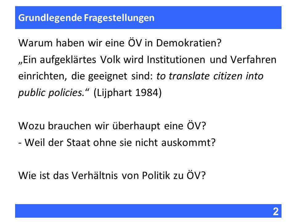 2 Fragen zur Vorlesung Grundlegende Fragestellungen Warum haben wir eine ÖV in Demokratien? Ein aufgeklärtes Volk wird Institutionen und Verfahren ein