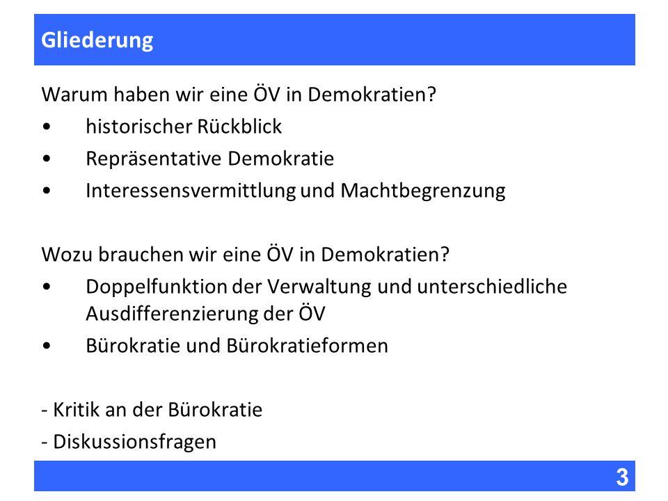 3 Fragen zur Vorlesung Gliederung Warum haben wir eine ÖV in Demokratien? historischer Rückblick Repräsentative Demokratie Interessensvermittlung und