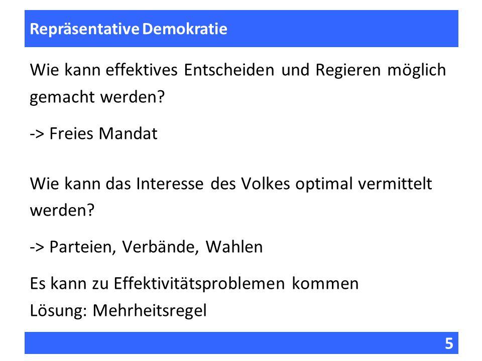 5 Fragen zur Vorlesung Repräsentative Demokratie Wie kann effektives Entscheiden und Regieren möglich gemacht werden? -> Freies Mandat Wie kann das In