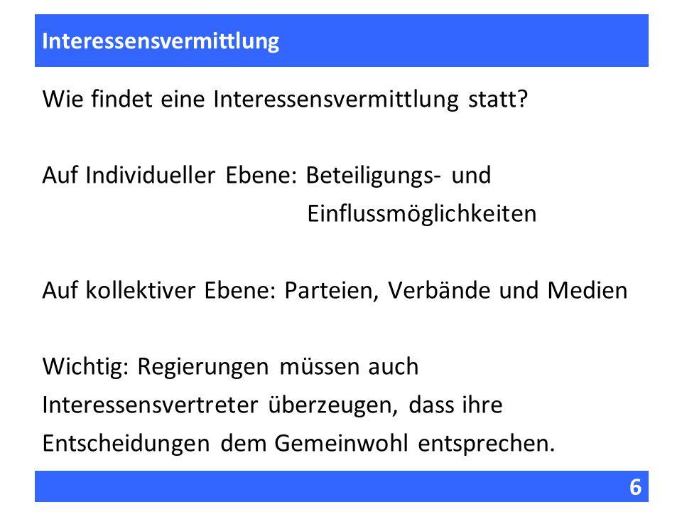 6 Fragen zur Vorlesung Interessensvermittlung Wie findet eine Interessensvermittlung statt? Auf Individueller Ebene: Beteiligungs- und Einflussmöglich